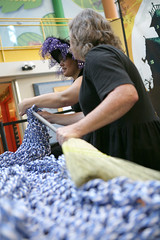 Super Scarves Volunteers Knit GIANT Scarf
