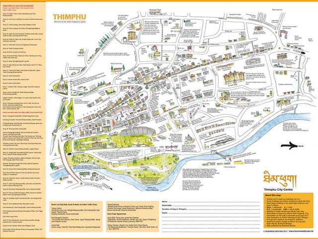 Thimphu City Centre Bhutan Illustrated Map (low res) | Flickr ... Thimphu Map