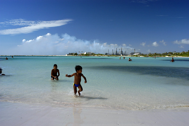 Children playing at Baby beach, Aruba