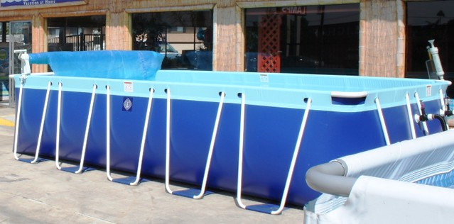 Soft sided above ground rectangle pool flickr photo for Rectangle above ground pool hard sided