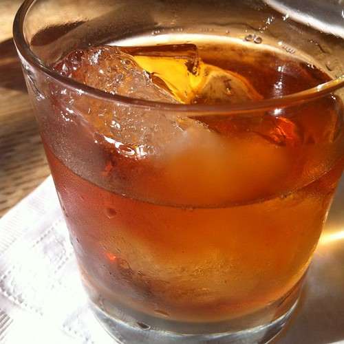 """Friend of the Devil"" @ Prime Meats: Smith & Cross rum, Carpano Antica, Cocchi Americano, Mezcal, Angostura bitters"