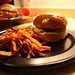roasted vegetable burger with sweet potato fries