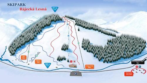 Rájecká Lesná - mapa sjezdovek