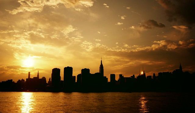 Two Suns - Sunset over the New York City Skyline