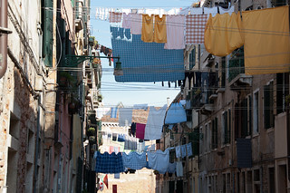 Image of Giuseppe Garibaldi. venice italy clothes venezia castello drying