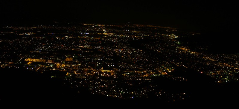 Skyline Trail 2400ft - Night Photo - Lights of Palm Springs panorama