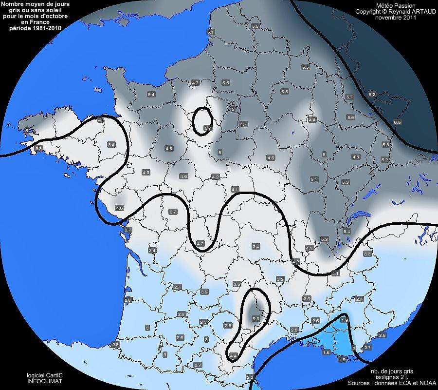 nombre moyen mensuel de jours gris ou sans soleil pour le mois d'octobre en France