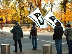 Flag Waving Veterans For Peace Occupying the Sidewalks @ De-OCCUPY PDX
