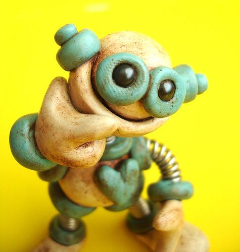 Blue Benji Grungy Robot Sculpture by HerArtSheLoves