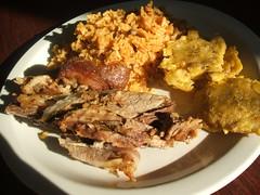 Pork, arroz con gandules, tostones