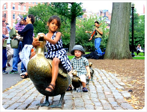 boston ducklings with girl