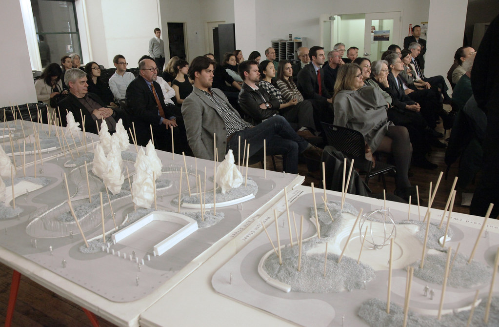 Hudson Yards landscape model with audience.