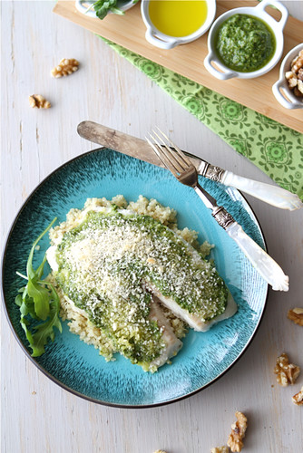 Baked Tilapia Recipe with Arugula Walnut Pesto & Breadcrumb Crust