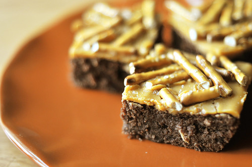 Guinness Brownie with butterscotch and pretzels