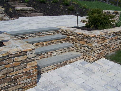 Retaining wall patio steps flickr photo sharing for Patio and retaining wall ideas