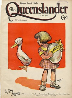 Illustrated front cover from The Queenslander, April 18, 1935