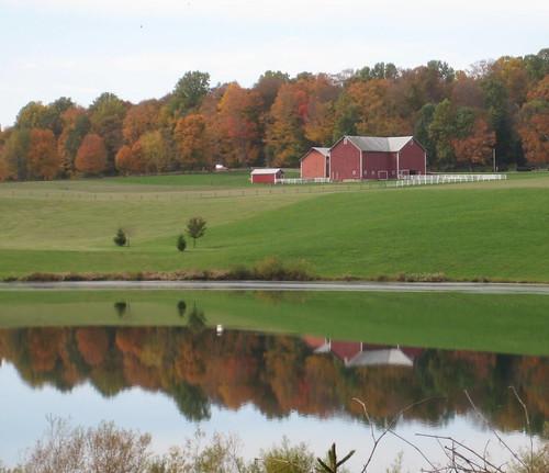 travel autumn ohio lake reflection fall tourism barn midwest farm biketrail ohiotourism lexingtonohio ohiotravel myohio