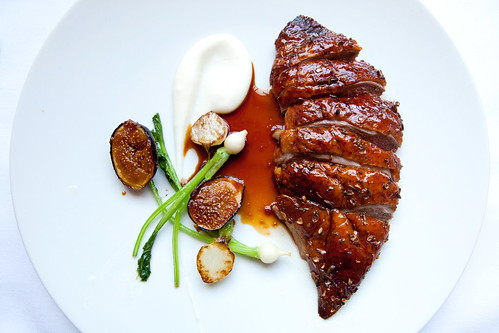 Duck for Two: Roasted Muscovy duck with lavender honey, turnips and figs