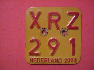 NETHERLANDS 2003 ---MOPED, SCOOTER PLATE #XRZ291