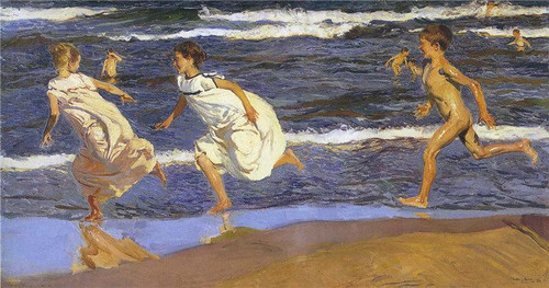 Sorolla y Bastida,  Joaquin  (Spanish, 1863-1923)  - Running along the Beach  - 1908