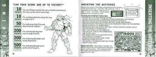"TIGER ELECTRONICS :: ""NINJA TURTLES: THE NEXT MUTATION"" ELECTRONIC LCD GAME ..INSTRUCTION MANUAL  pgs.12,13 (( 1998 ))"