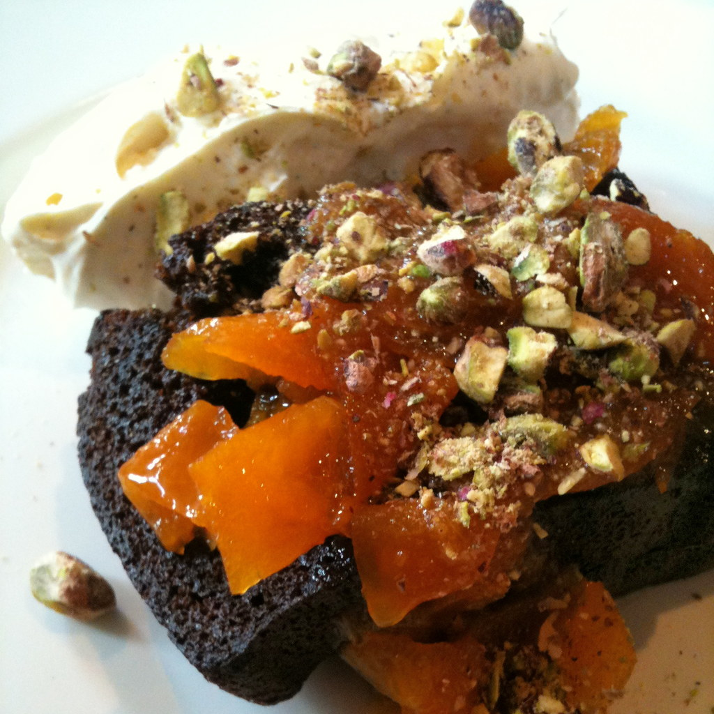 Sticky gingerbread with vanilla mascarpone, candied cumquats and pistachios at Three Bags Full