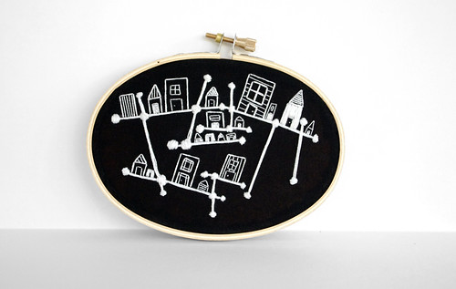 White-on-Black Embroidered Constellation City by Sarah Hennessey 2