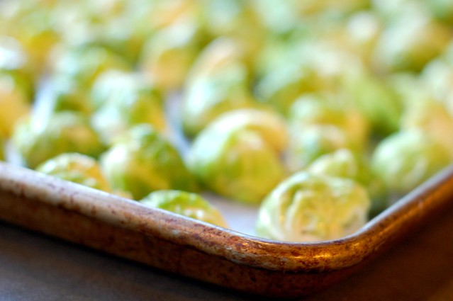 Brussels sprouts about to go into the oven by Eve Fox, Garden of Eating blog, copyright 2011
