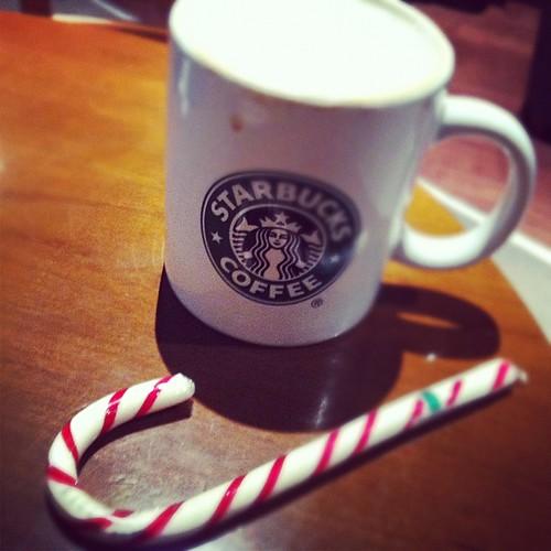starbucks xmas coffee & a candy cane :) thanks Dave! xo