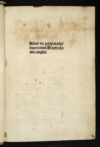 Title-page of Bartholomaeus Anglicus: De proprietatibus rerum
