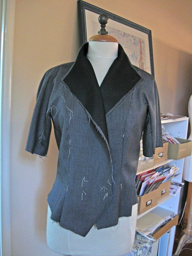 Grey Vogue suit jacket started