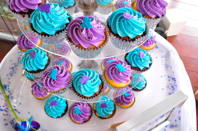 Purple and turquoise wedding cupcakes double choc mud and