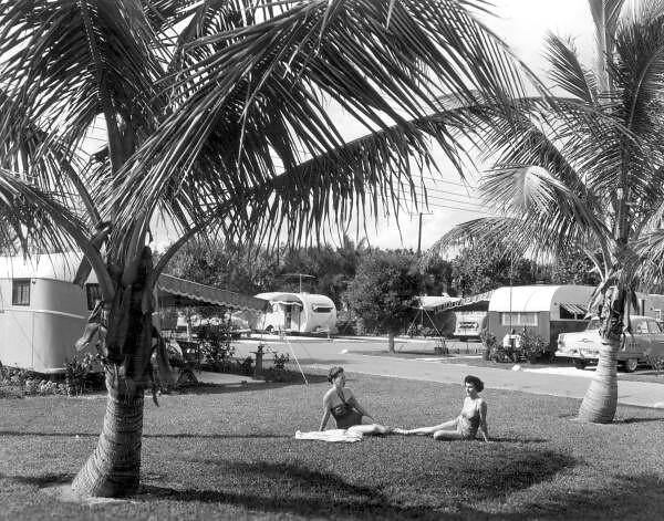 Unidentified women sunbath at the Hollywood Beach Trailer Park: Hollywood, Florida