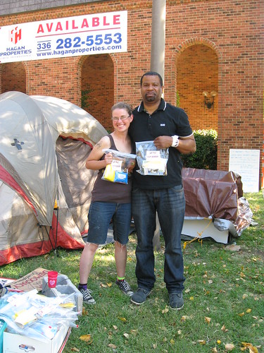 Receiving AFSC Hygiene Kits at Occupy Greensboro Photo by Susan Ikenberry