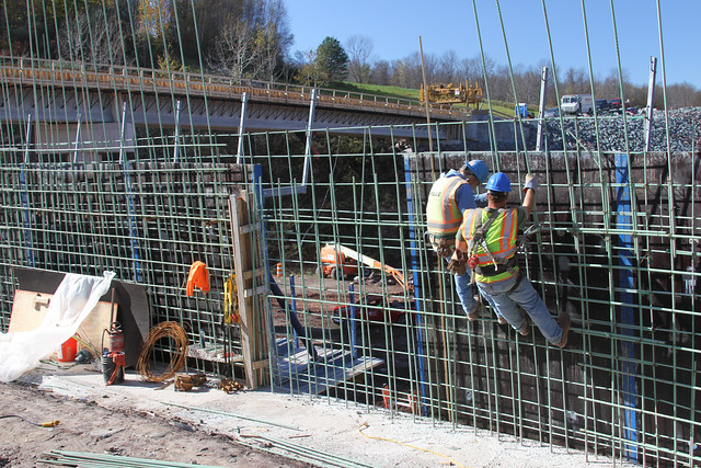 Workers install rebar at Prompton Dam and Reservoir