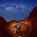 "Double Arch and Milky Way stars by IronRodArt - Royce Bair (""Star Shooter"")"