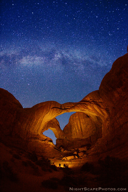 Double Arch and Milky Way stars