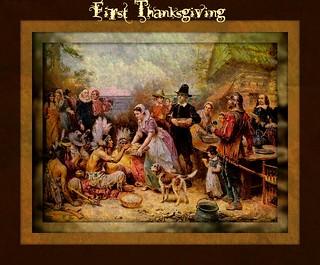 Weiße Siedler und Indianer feiern ...