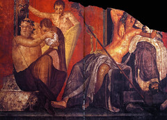 The catoptromancy and the marriage of Dionysus or Bacchus and Semele, Pompeii, Villa of Mysteries, photographer unknown