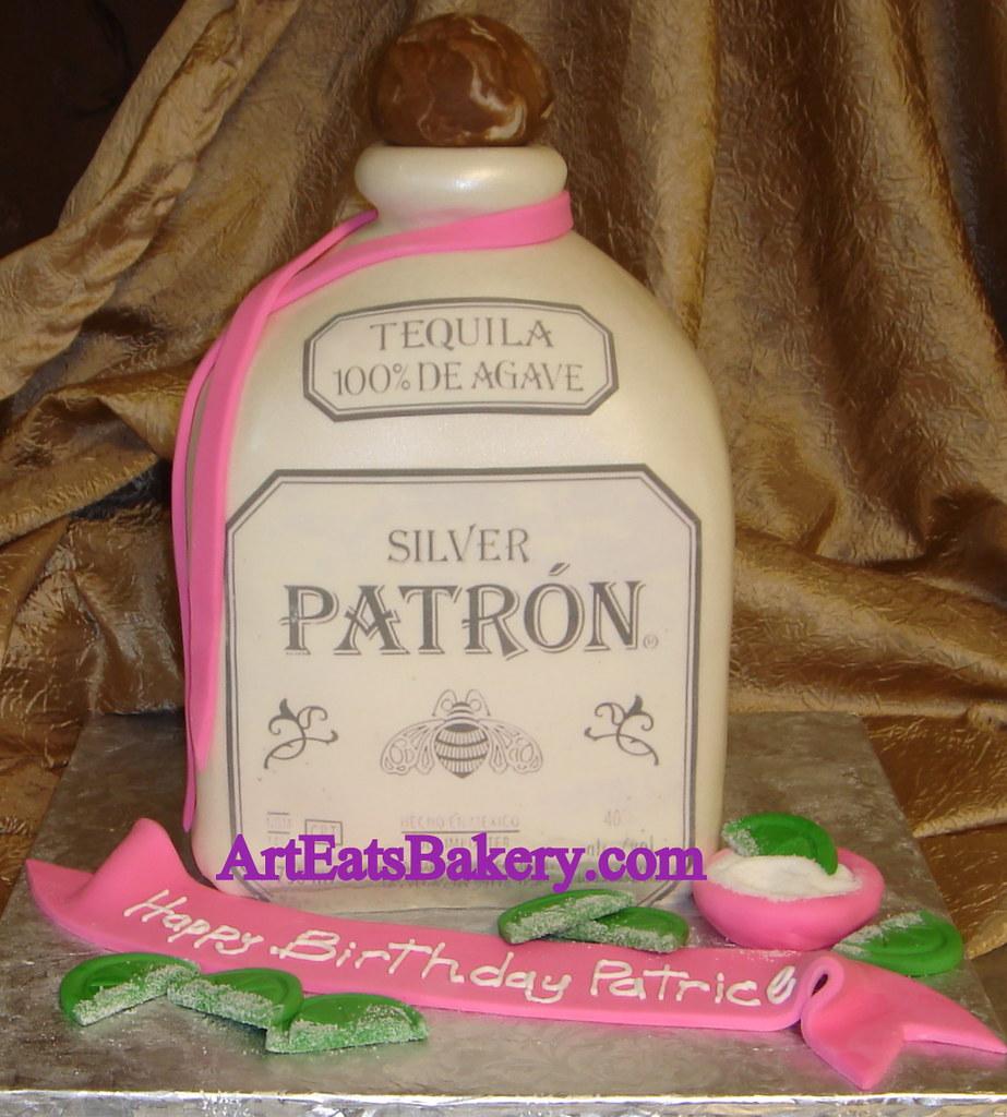 D Patron Tequila Bottle Unique Custom Birthday Cake With Sugar - Patron birthday cake