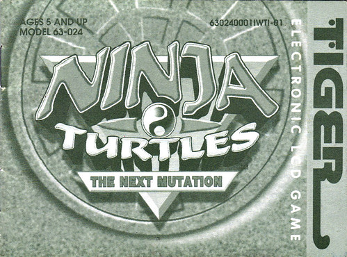 "TIGER ELECTRONICS :: ""NINJA TURTLES: THE NEXT MUTATION"" ELECTRONIC LCD GAME ..INSTRUCTION MANUAL (( 1998 ))"