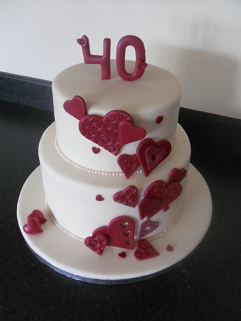 Cascading Hearts Cake 40th Ruby Wedding Anniversary
