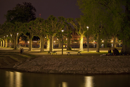 Urban park at night