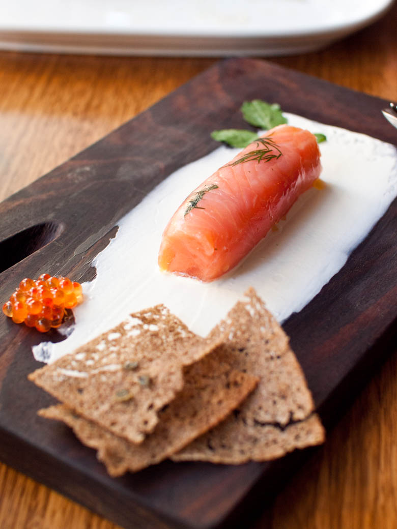 Steer - Warm salmon gravlax $12