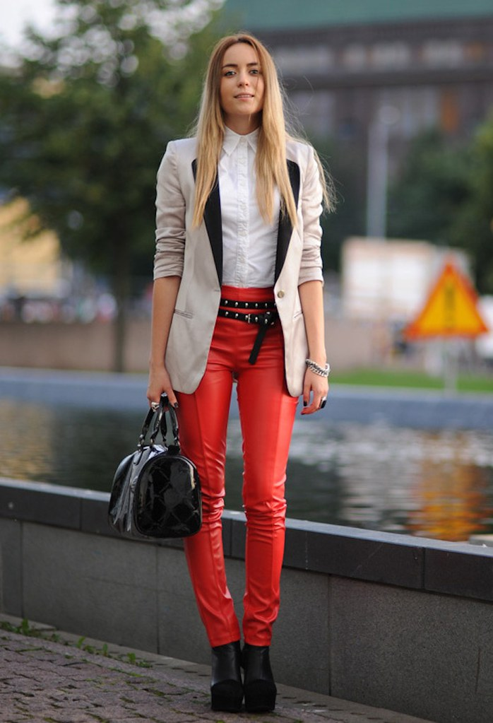 gina-tricot-red leather pants