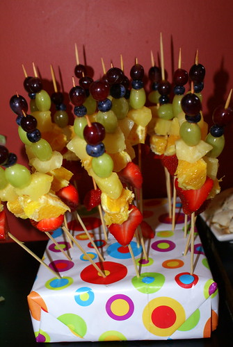 Rainbow Color Fruits On Skewers