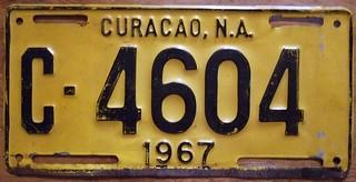 CURACAO, NETHERLANDS ANTILLES  1967 ---PASSENGER LICENSE PLATE