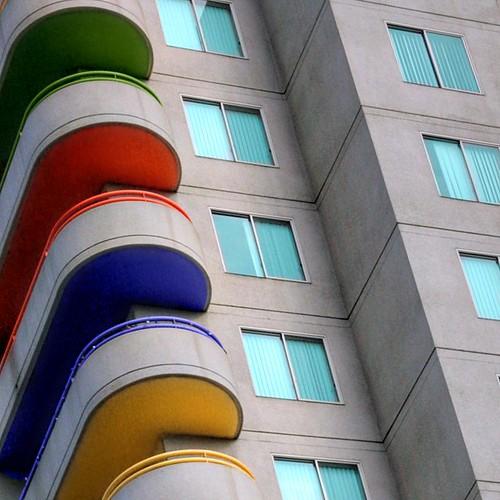 balconies colors curves building losangeles la downtown sky repeats themet metropolitanapartments