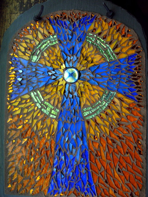 Celtic Cross Mosaic in Blue, Amber and Green by Margaret Almon