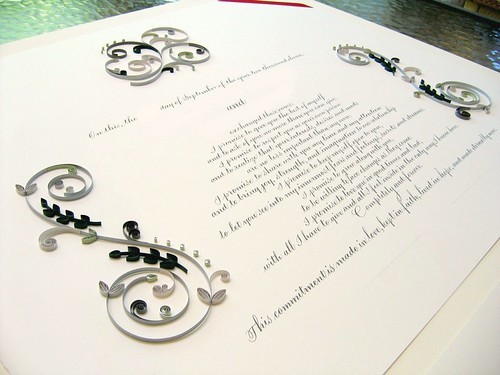 Quilled Marriage Certificate with Mirrored S-Scrolls